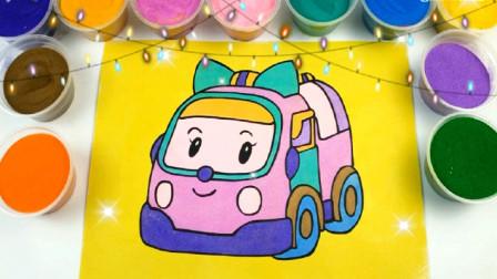 彩色的闪粉装饰玩具汽车 亲子益智