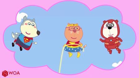 小猪佩奇搞笑版:狗爸爸带小伙伴们去玩热气球,热气球发生故障