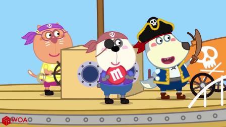 小猪佩奇搞笑版:狗狗灰灰开船出海,碰到海盗真危险