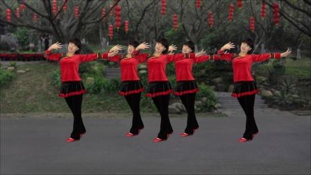 广场舞《好事样样来》贺新年喜庆舞背面演示