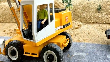 警车出故障挖掘机救援 创意玩具