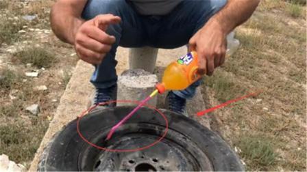 在车轮里面灌满汽水,启动之后还能驾驶吗?看完有些不敢相信!