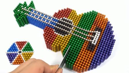 用5800颗磁力球组装成一把吉他,这个不需要技术,你也能做到