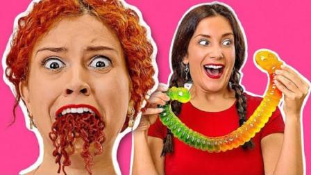 国外姐妹发起真假美食挑战:选啥吃啥全靠运气,一口下去太惨了!