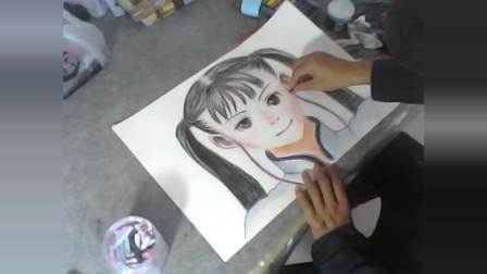 画一个羊角辫小女孩