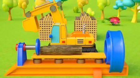 汽车玩具动画:推土机 拖拉机 搅拌车 翻斗车和铲车建造自己的家园