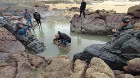 南极虾为饵引来海货群,全家人跋山涉水来抓鱼,一条滋补野货几米长