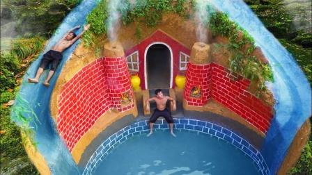 印度牛人荒野求生,徒手建造泳池豪宅,网友:来度假的?
