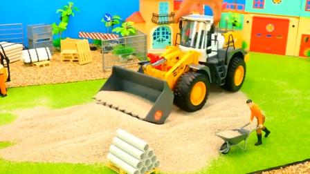 亲子益智认知各种汽车工程车的功能 卡车运送沙子拖拉机运豆子
