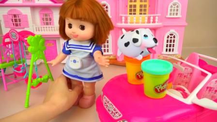 儿童亲子互动,娃娃沙车花玩娃娃多丽屋,太好玩了