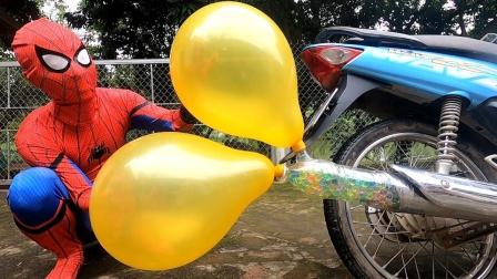 蜘蛛侠:蜘蛛侠用摩托车做实验!