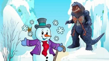 奥特曼要抓怪兽,怪兽把雪人碰倒了