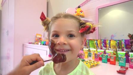 美国儿童时尚,小萝莉在化糖果妆,真有意思呀