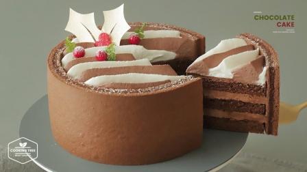 家中自制圣诞巧克力雪纹蛋糕,创意美食食谱,一起来见识下!