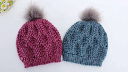 钩针帽子教程 和麦穗一样的花形, 非常的好看, 线材也很温暖