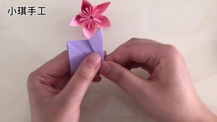 一朵漂亮的樱花折纸,超简单一看就会,快来一起折吧!#西瓜新人#