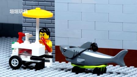 乐高城市蜘蛛侠鲨鱼攻击