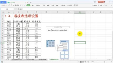 1-4:透视表选项设置