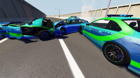 BeamNG:十辆电动警车拦截一辆超跑,V12引擎没跑过电动!