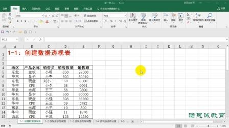 1-1:创建数据透视表