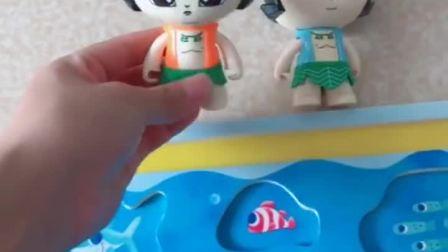 两个葫芦娃先把小鱼送回家,再来钓鱼