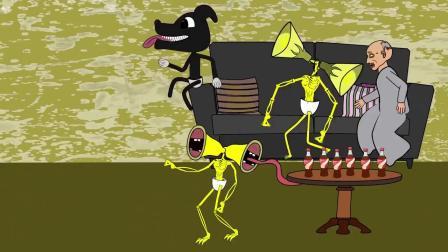动画:小黑狗带回家来两个警笛头,到处捣乱把爷爷气住院了