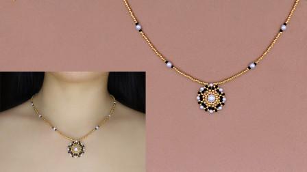 手工制作花形串珠吊坠项链、手工串珠制作饰品