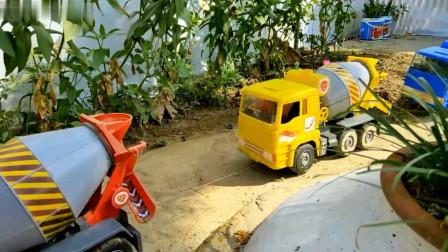 各种玩具车搅拌车忙碌工作铺水泥路 创意玩具
