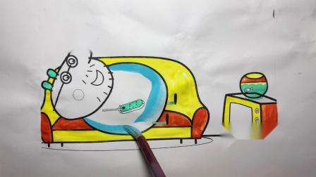 小猪佩奇的爸爸躺在沙发睡着了