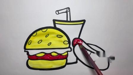 小猪佩奇和伙伴分享汉堡包和可乐