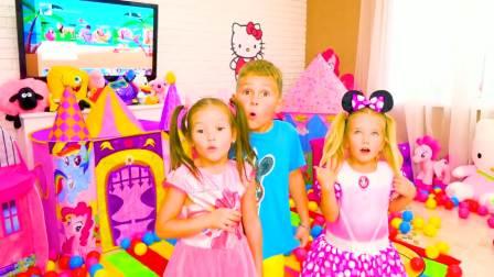 儿童亲子互动,萨沙和斯拉瓦玩玩具屋帐篷,太漂亮了