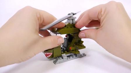 积木拼装直升机模型