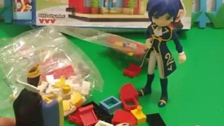 亲子宝宝动画:白马王子可以把积木拼好吗