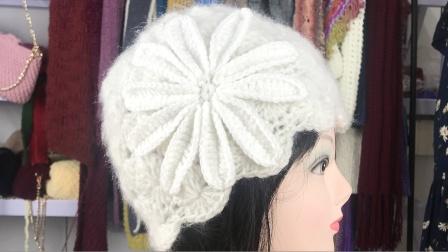 绒尚手工-松鼠绒大花朵帽子编织 上集