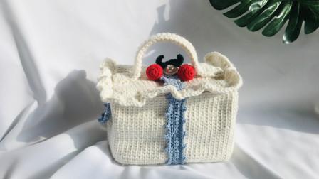 钩针编织甜美樱桃方盒子手拎包包,手工编织毛线包视频教程
