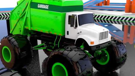 乐享知识乐园里涂装好的绿色垃圾车等待交付