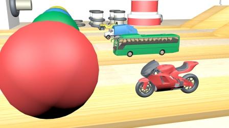 彩色的魔法小球把交通工具染成了新的颜色