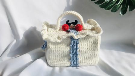 钩针编织甜美樱桃方盒子手拎包包,容量超大可爱至极 手工编织毛线包视频教程 第二集