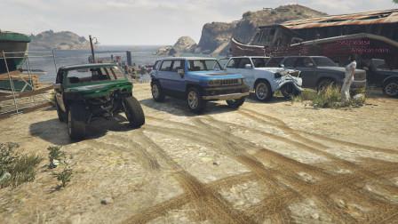 GTA5:三人开着越野车感受海岸线,没走多远全翻车