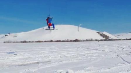 酷炫的风筝滑雪运动
