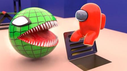 趣味吃豆人:绿色吃豆人VS太空人!