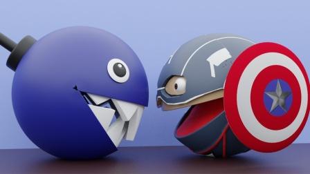 趣味吃豆人:美国吃豆人队长vs铁链大嚼!
