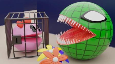趣味吃豆人:女吃豆人vs绿色怪物!