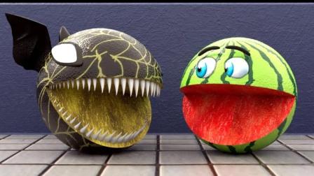 趣味吃豆人:西瓜吃豆人vs蝙蝠吃豆人大嚼水果!