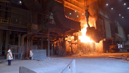 炼钢厂实拍,倒钢水过程,太刺激了