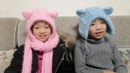 棒针编织一体式手套围巾帽子教程(7)