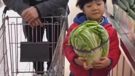 童年的记忆:宝贝抱着好大一颗白菜呀