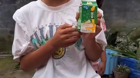 童年的记忆:宝贝悄悄地喝啦姐姐的牛奶