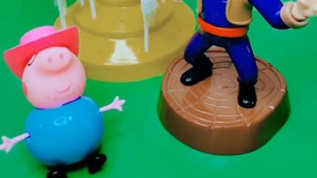 猪爸爸戴上帽子,假装自己是小孩子,可惜被光头强看出来了