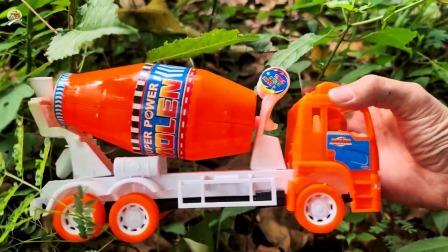 寻找工程车小汽车玩具,搅拌车,油罐车和挖掘机玩具